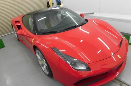 フェラーリ Ferrari 488 GTB ボディコーティング&ルーフラッピング!!