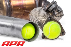 apr_exhaust_40t_cast_downpipe_outlet_vs_oem_ball